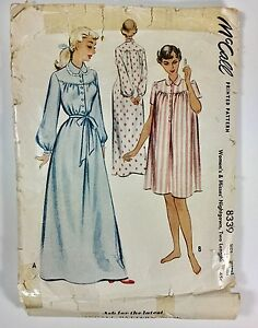 Vintage-50s-McCALL-Sewing-Pattern-8339-Nightgown-Night-Gown-Short-Long-Robe