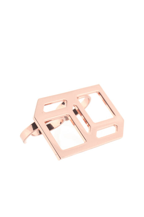 Pierre Hardy pink gold Tone Metal Geometric Double Finger Ring Size 7 New 67930