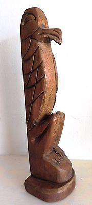 Northwest Coast First Nations native Art carving 1992 EAGLE Totem Pole, signed
