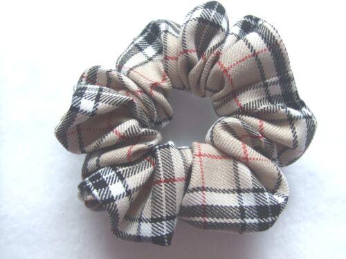 Beige Tartan Scrunchie Hair Elastic Band Bobble