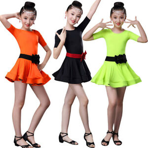 766371b7559ae Image is loading Kids-Girls-Latin-Ballet-Dress-Children-Party-Dancewear-