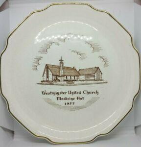 Vintage-Westminster-United-Church-Medicine-Hat-22K-GOLD-Porcelain-Plate-1957