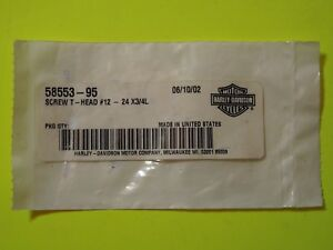 "NOS OEM Harley Davidson 12-24 x 3/4"" T-head Windshield Trim Screw P/N 58553-95"