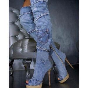 Women-Platform-Denim-Jean-Boots-Peep-toe-Stiletto-Heel-Over-The-Knee-Heels-Boots