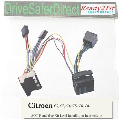 C4 C5 6000-800 Cable 2Fit Listo Para Radio Iso//Citroen C3 4-Head