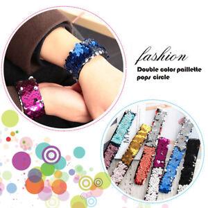 Fashion-Women-Personalized-Mermaid-Sequin-Bangle-Two-tone-Fish-Scale-Bracelet