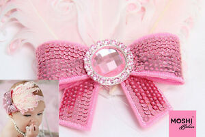 Baby-Girls-Kids-Pink-Feather-Sequin-Bow-Hairband-Wedding-Party-by-Moshi-Babies