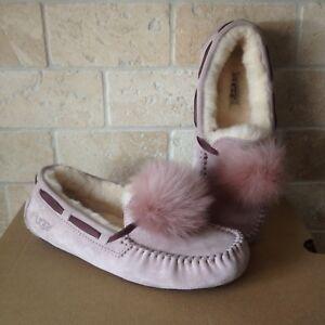 219678c5854 Details about UGG Dakota Pom Pom Dusk Slippers Moccasins Suede Sheepskin  Size US 8 Womens