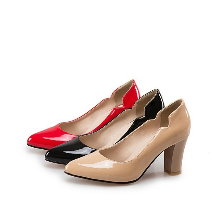 Ladies Pointed shoes Shiny Synthetic Leather High Block Heels Pumps UK Size S277