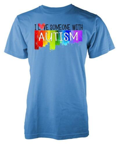 Rainbow Splash I Love Someone With Autism Adult T Shirt