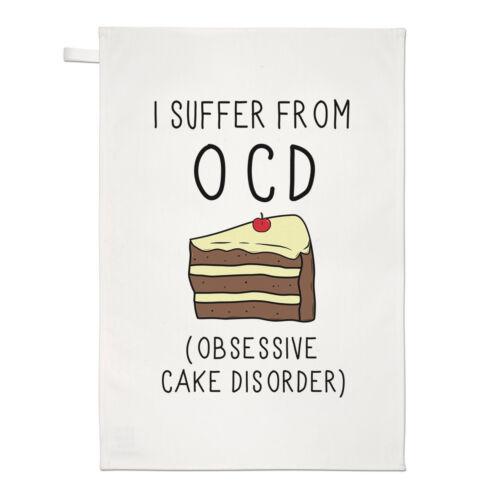 Food Funny Obsessive Cake Disorder OCD Tea Towel Dish Cloth