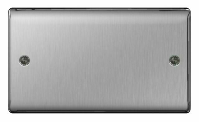 BG Nexus Metal Brushed Steel Satin Chrome 2 Gang Blank Plate Cover NBS95 Double