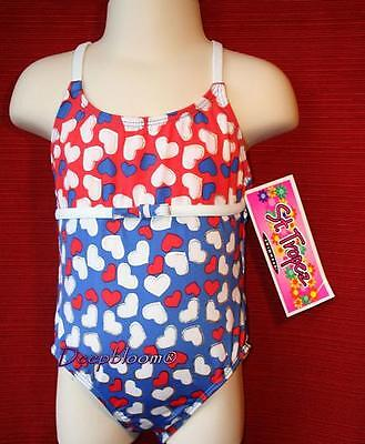 ST TROPEZ Girls White Flower Heart Print Swimming Suit Swim Bathing Suit 1 PC