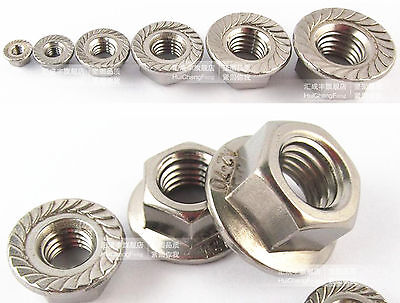 50pcs Metric M6 304 Stainless Steel Hex Head Flange Nut DIN6923