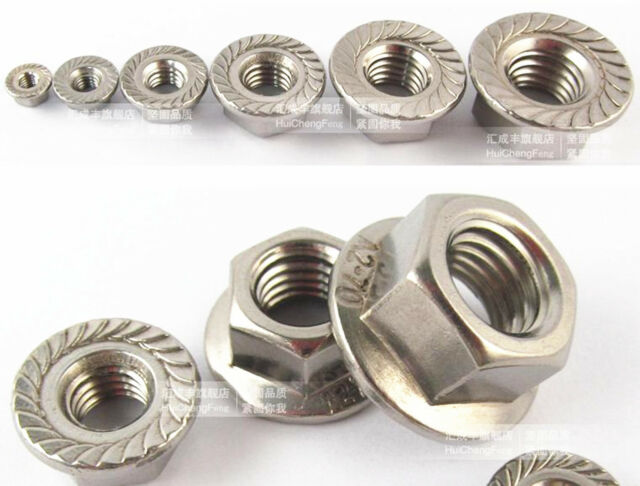 50pcs Metric M5 304 Stainless Steel Hex Head Flange Nut DIN6923