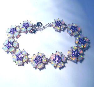 Feine-Weisse-Feuer-Opal-Amethyst-Silber-Armband-7-034