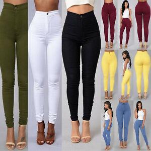 Women Skinny Pencil Pants High Waist Stretch Slim Cotton Jegging Trousers Bottom