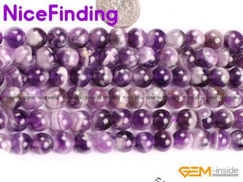 """Natural Dream Lace Amethyst Crystal Round Gemstone Beads For Jewelry Making 15/"""""""