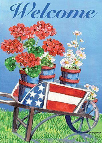 STARS /& STRIPES WAGON BRAND NEW 12x18 SUMMER 0020 MINI GARDEN FLAG