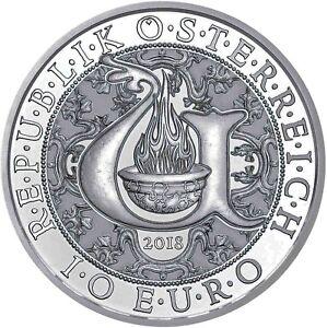 Autriche 10 Euro 2018 Lumière Ange Uriel Argent Pièce Handgehoben Dans Le Dossier-afficher Le Titre D'origine