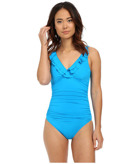 RALPH LAUREN LAGUNA RUFFLE SURPLICE TANK ONE PIECE SWIMSUIT blueE SIZE 8 NEW