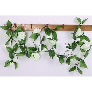 Hot-Artificial-Silk-Rose-Flowers-Ivy-Vine-Hanging-Decor-Garland-Wedding-White-L2