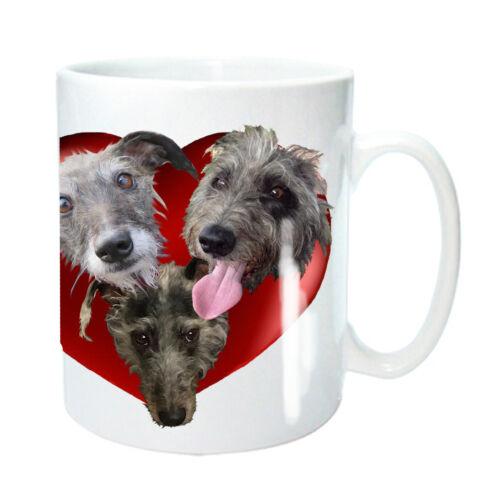 Lurcher Dog Mug 3 Bedlington Whippet Cross in Heart Birthday Gift Mothers Day
