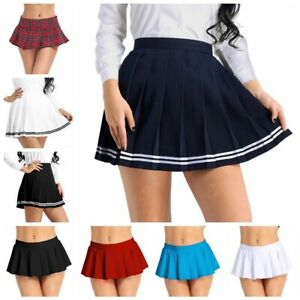 Womens Pleated Mini Skirt Fashion Ladies Solid Color High Waist Cosplay Costumes School Uniforms Skater Skirt
