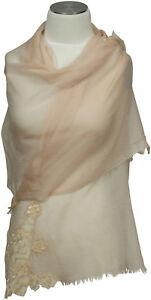 Elegante-SCIARPA-con-punta-in-beige-Lana-Seta-Matrimonio-scarf-foulard