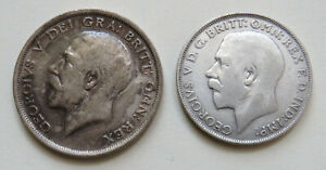 England-Great-Britain-George-V-Half-Crown-1915-Florin-1923-Silber