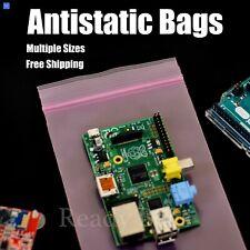 Pink Antistatic 4mil Plastic Bags Heavy Duty Zipper Seal Reclosable Zip Top Bags