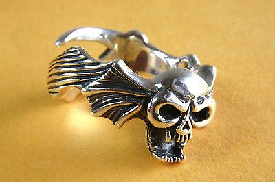 Vereinigt Biker Totenkopfring Skull Tattoo Silberring 925 Silber 332 Den Speichel Auffrischen Und Bereichern
