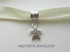 SOLID GENUINE STERLING SILVER CLEAR CZ STAR BRACELET BEAD HANGER CHARM GIFT BOX