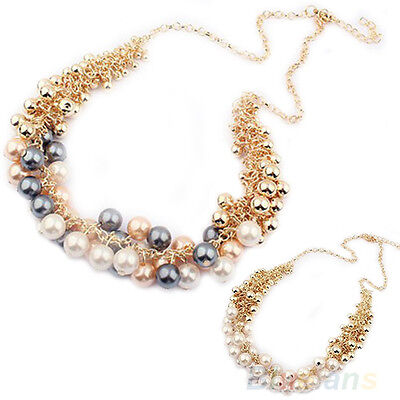 Women's New Charming Delicate Occident Hyperbole Multi-Layer Pearl Necklace B1AU