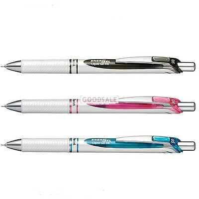 Pentel EnerGel Pearl White 0.5mm Gel Pen BLN75 3pcs(Black, Blue, Red)