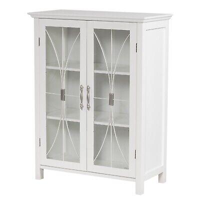 Sansai Modern Textured Glass doors Floor Cabinet for Bathroom//Kitchen Storage