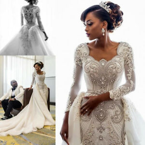 Details About Luxury Crystals Beaded Mermaid Wedding Dress White Ivory Detachable Bridal Gown