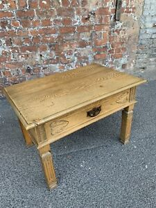 LOVELY-20TH-CENTURY-ANTIQUE-CARVED-LIGHT-OAK-SIDE-TABLE-WITH-DRAWER-TABLE
