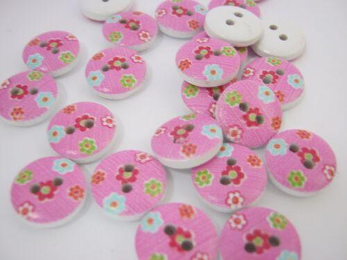 """10 Botones Floral Rosa 13 mm Botones de Ropa Coser Tejer Niñas Rosa 1//2/"""""""