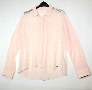 Pink-Ladies-Officielle-Femme-blosue-Shirt-Sheer-Lace-Front-Taille-S-ABERCROMBIE-amp-FITCH