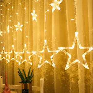 Star-Shaped-LED-Light-String-Curtain-Window-Bedroom-Xmas-Fairy-Lamp-Home-Decor-L