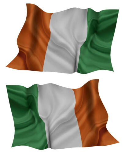 EIRE FLAG DECAL left and right facing IRISH SIZE 100MM BY 63MM GLOSS