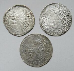 Hessen-Ludwig-II-1458-1471-Zweischildgroschen-3-Stueck
