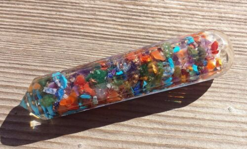 ONE ORGONE 7 CHAKRA MIXED GEMSTONE FACETED WAND ORGONITE