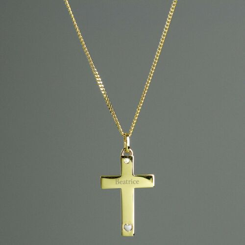 Personalised 9ct Gold Cross with Sterling Silver Heart /& CZ Necklace Christening
