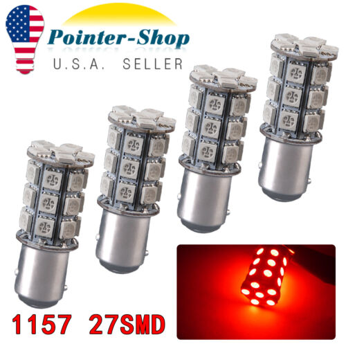4x RED 1157 27SMD 5050Chip High Power Car Brake Tail LED Light Bulbs 1142 12V