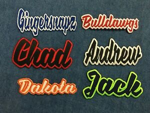 Custom-Names-4-034-Wide-Color-Choice-Words-Iron-On-Embroidered-Applique-Patch