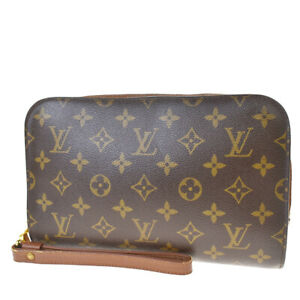 Auth-LOUIS-VUITTON-Orsay-Clutch-Hand-Bag-Monogram-Leather-Brown-M51790-39MF068