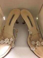 Manolo Blahnik Flower Sandals - Beige- Size 37.5