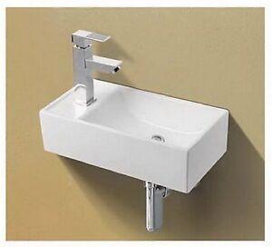 Small Mini Corner Cloakroom Left Hand Basin Sink Wall Hung